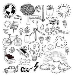 Doodle set - ecoeco, vector illustration.
