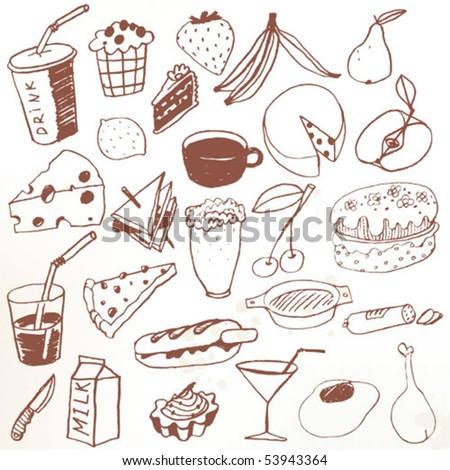 Doodle set - food