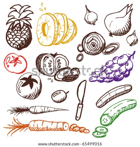 doodle set - fruits and vegetables