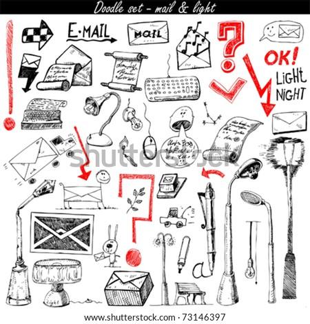 Stock Photo doodle set - mail & light