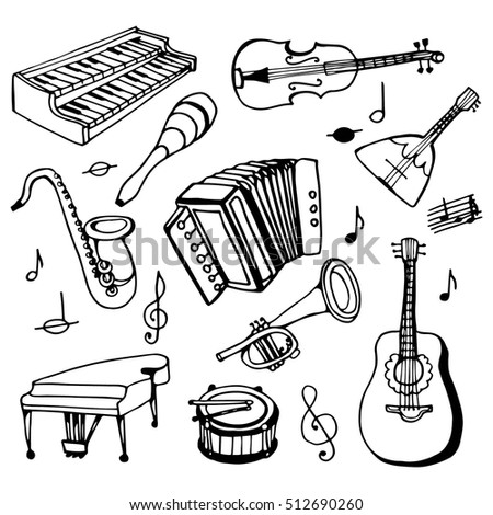 doodle set musical instruments. Black and white drawing of a hand drawn