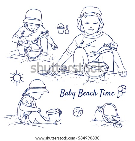 doodle set of baby beach time