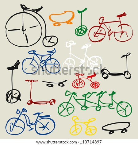 Doodle set of  bicycles for your design