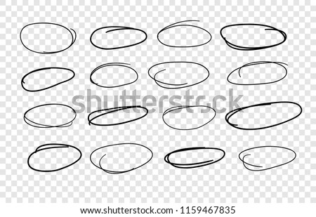 Doodle set of black pencil drawing objects on transparent background. Hand drawn abstract illustration grunge elements. Vector abstract ellipsses for design use.