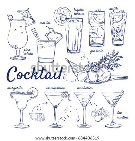 doodle set of cocktails   pina