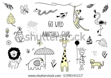 doodle set of cute tropical