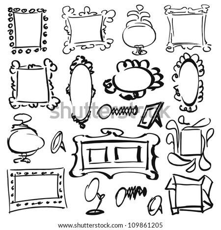 Mirror Frame Drawings Doodle Set of Frames Mirrors