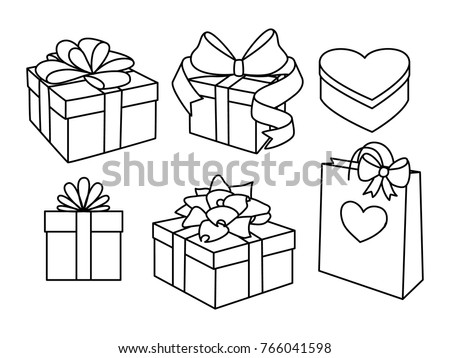 doodle set of gift boxes with