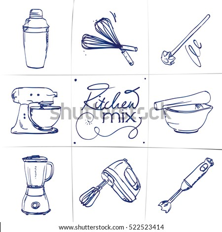 Doodle set of kitchen mixer - shaker, whisk, food processor, mortar, smoothie maker, mixer, blender, hand-drawn. Vector sketch illustration isolated over white background.