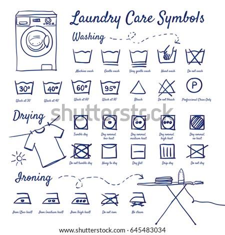 Doodle set of Laundry Care Symbols - washing, drying, Washing machine, Ironing board with iron, shirt hanging with braces, hand-drawn. Vector sketch illustration isolated over white background.