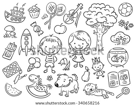 Doodle set of objects from a child's life including pets, toys, food, plants and things for sport and creative activities
