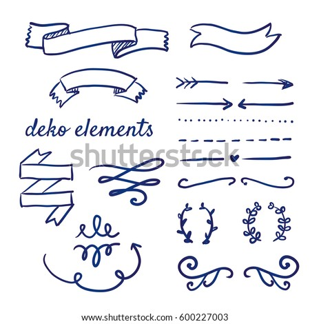 doodle set of various deco and