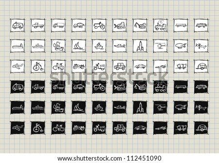 Doodle set of various icon vehicles, transport