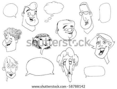 Doodle set of various people faces