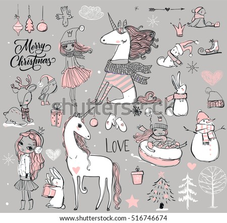 doodle set - princess with unicorn and winter elements