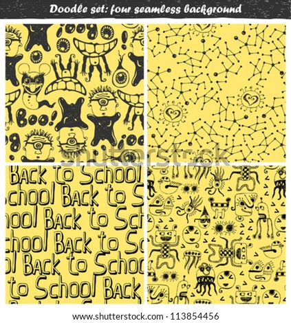 doodle set - seamless backgrounds