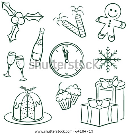 Doodle set with christmas elements
