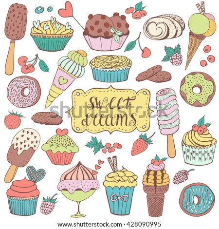 doodle set with sweet cupcakes