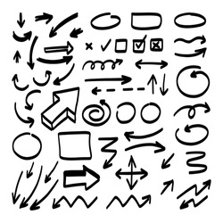 Doodle shapes. Arrows sketch elements. Vector cartoon frames. Hand drawn set of icons and frames.