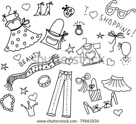 Doodle Shopping Stock Vector Illustration 79865836 ...