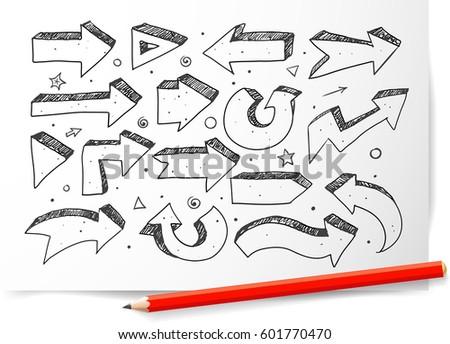 Doodle sketch arrows on white paper backgroun