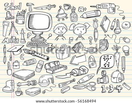 Doodle Sketch Design Elements Vector Illustration Giant Mega Set