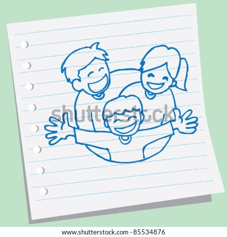 doodle sketch happy family illustration - stock vector