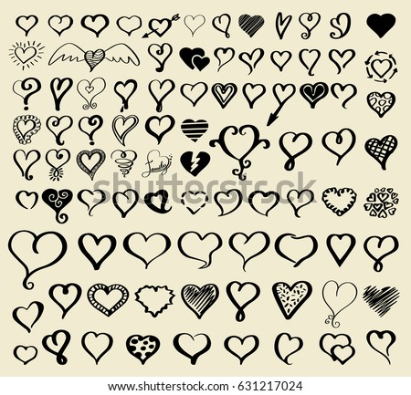 Doodle sketch hearts collection. Vector illustration