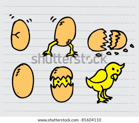 doodle sketch illustration of eggs and chick