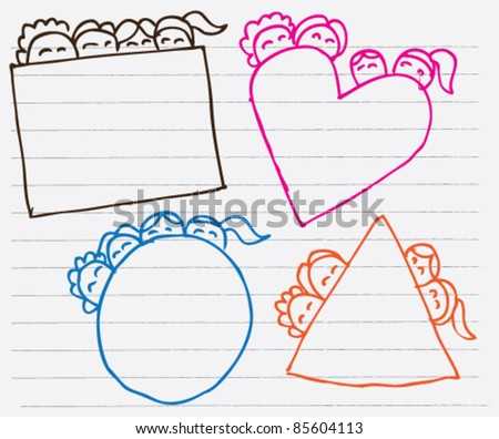 doodle sketch illustration of kids frame