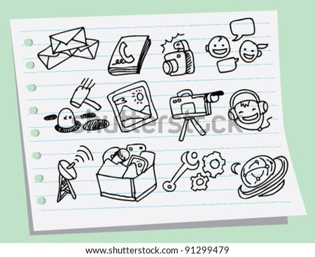 doodle sketch illustration of Mobile phone icons