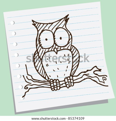doodle sketch illustration of owl - stock vector