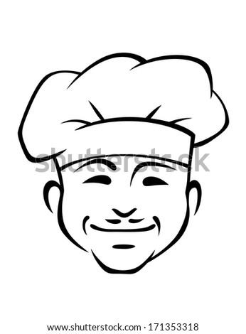 Doodle sketch in black and white of a happy smiling chef logo with a little mustache wearing a traditional white toque