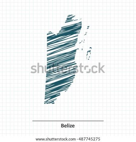 doodle sketch of belize map