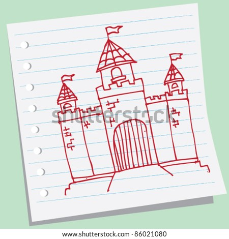 doodle sketch of castle - stock vector
