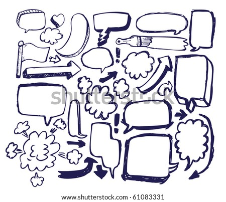 Doodle Sketch Speech Bubble Arrow Vector Illustration Set