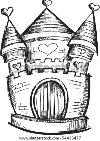 Doodle Sketchy Castle Vector Illustration