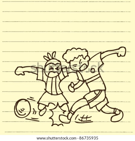 doodle sketchy illustration of play football