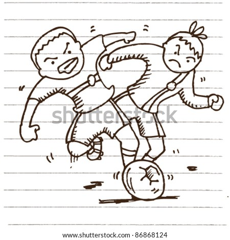 doodle sketchy play soccer/football illustration