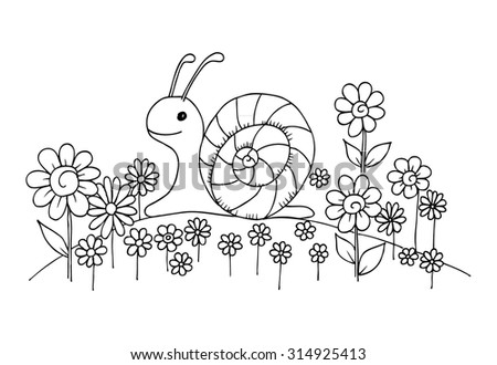 doodle snail and flowers on a