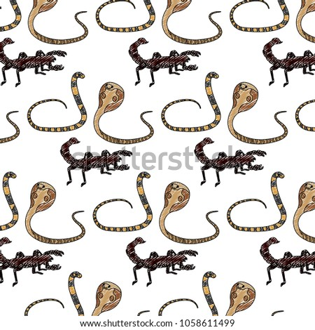 doodle snake with scorpion and