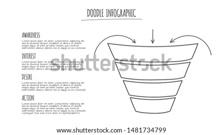 Doodle social media sales funnel with 4 options. Thin line hand drawn illustration.