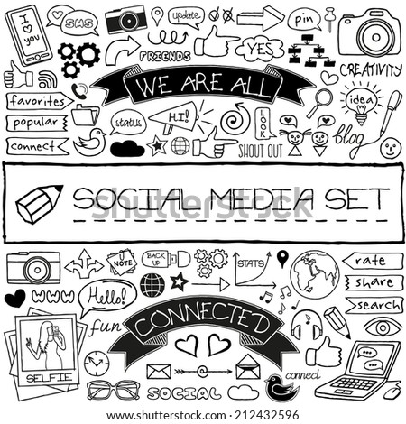 Doodle social media symbols / icons set. Networking concept. Speech bubbles, thumb up, mobile phone, tags with captions and other design elements. For blog, web site, mobile apps. Vector illustration.