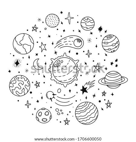 doodle solar system hand drawn