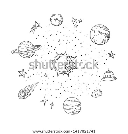 doodle solar system trendy