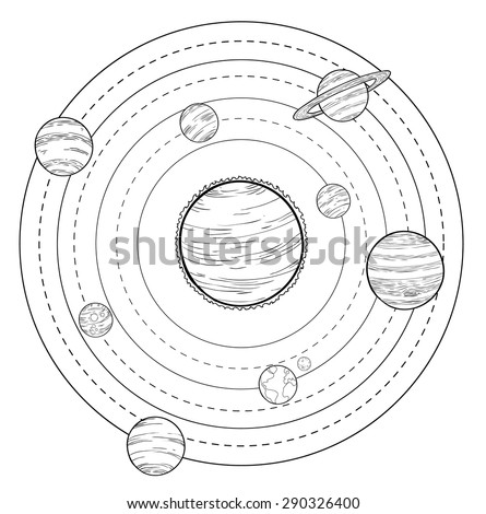 doodle solar system  vector