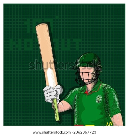 Doodle South Africa Cricket Batter Raising His Bat And 100 Not Out Font On Green Grid Background.