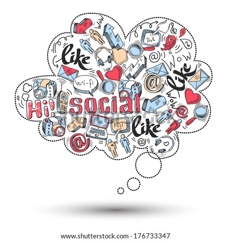 Doodle speech bubble icon with social media infographics isolated vector illustration