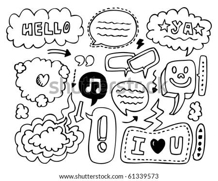doodle speech element - stock vector