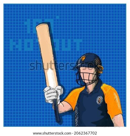 Doodle Sri Lanka Cricket Batter Player And 100 Not Out Font On Blue Grid Background.